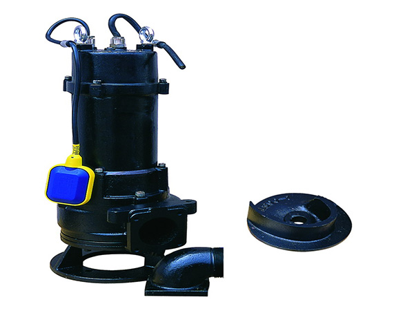 Submersible sewage pump with open single impeller